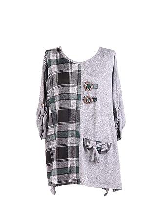89e22f9d780 New Ladies Italian Plain and Madras Check Print Top Women Lagenlook Top  PlusSize (Light Grey): Amazon.co.uk: Clothing