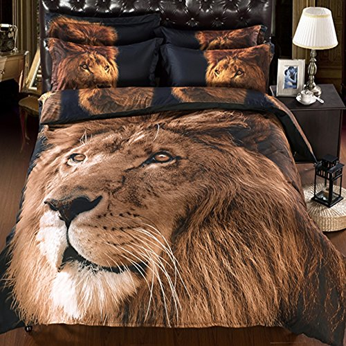 Alicemall King 3D Lion Bedding Set with Comforter Statement Cool 3D Lion 5-Piece Comforter Set, Twin/ Full/ Queen/ King/ California King (King)