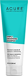 product image for Acure Simply Smoothing Shampoo, Water, Coconut & Marula Oil, 100% Vegan, Performance Driven Hair Care, Smooths & Reduces Frizz, White/Blue, 8 Fl Oz