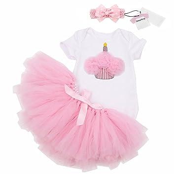 1fca6a4b77f49 Gmasking 子供ドレス 女の子ワンピース スカート ロンパース リボン飾り 3点 セット ピンク 0歳 1