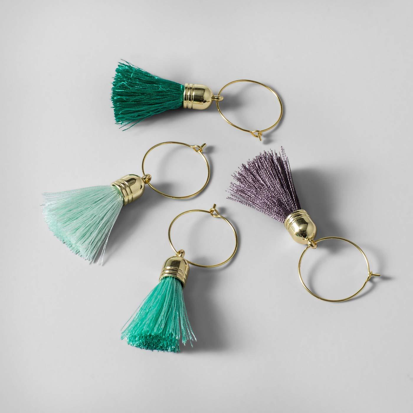 Wine Tassel Charm Accessories Green/Blue/Purple Set of 4 by Opalhouse