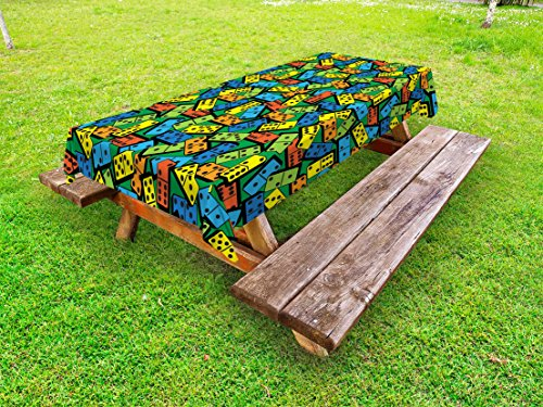 Lunarable Casino Outdoor Tablecloth, Colorful Domino Pattern Entertaining Success Winner Player Creative Design Print, Decorative Washable Picnic Table Cloth, 58 X 84 inches, Multicolor - Domino Outdoor Fabric