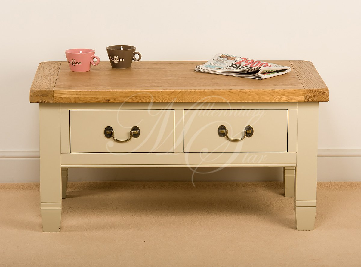 CREAM PAINTED SOLID WOOD CHUNKY RUSTIC OAK COFFEE TABLE WITH 4 DRAWERS:  Amazon.co.uk: Kitchen U0026 Home