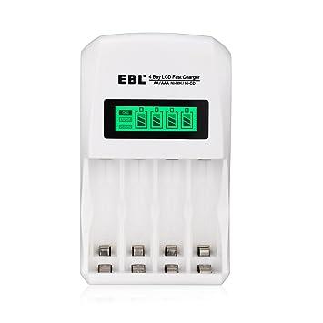 EBL LCD Inteligente Individual AA AAA Cargador de Pilas ...