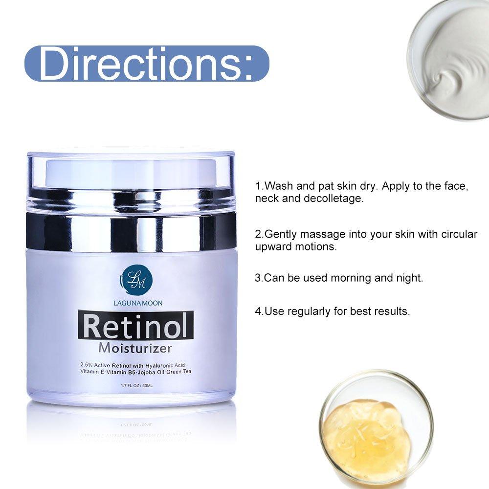 Crema hidratante para cara y ojos con 2,5% de retinol y ácido hialurónico, Vitamina E y té verde, efecto antienvejecimiento, crema de día y noche, ...