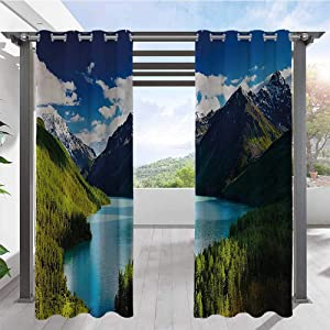 Custom Outdoor Curtain Mountain Range and Lake with Idyllic Pine Forest Cloud Sky Calm Landscape Home Fashion Window Panel Drapes for Cabana Corridor Garden Sun Room Olive Green Grey W84 x L96 Inch