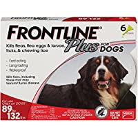 Frontline Plus Flea & Tick Treatment for Dogs , 6 Doses (89 to 132 pounds)