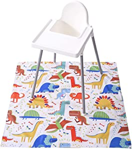 Baby Splat Mat for Under High Chair, Winthome Washable Large Floor Mat, Antislip Waterproof Baby Splash Mat for Dropping Food/Feeding, Arts/Crafts (Dinosaur)
