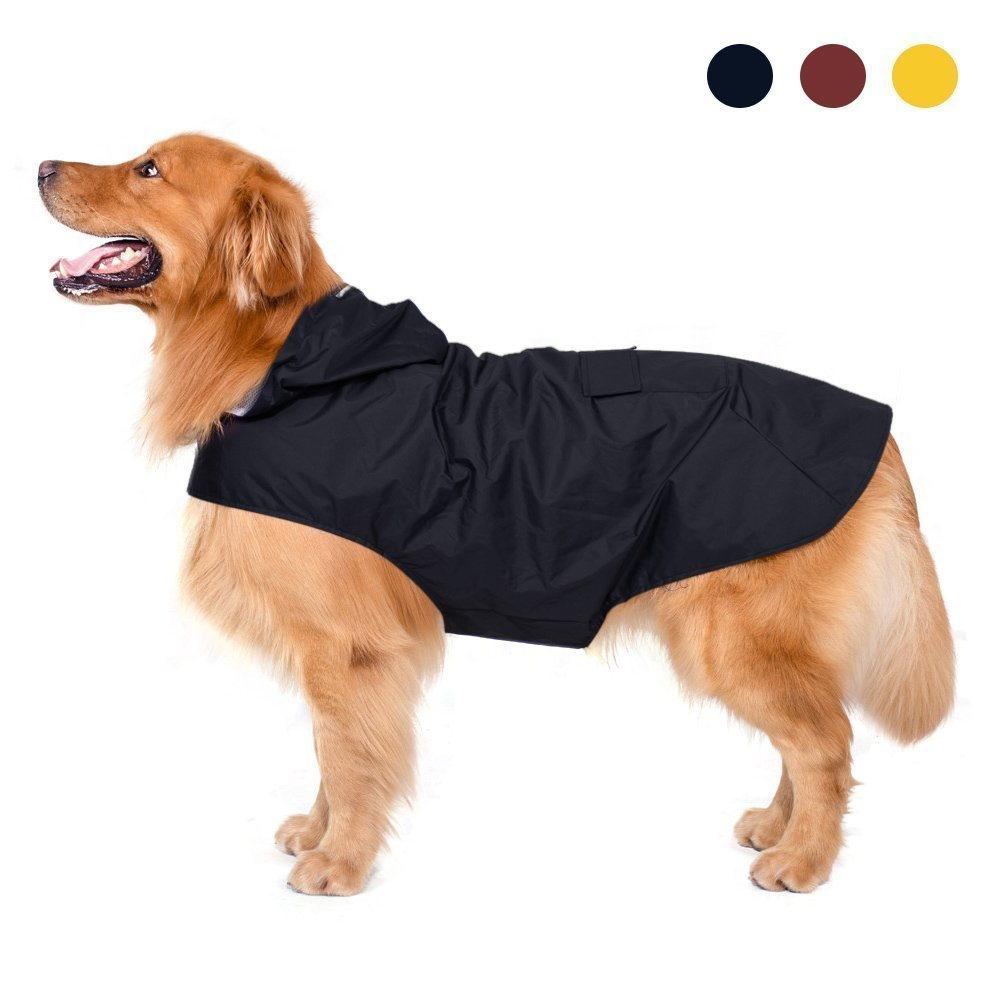 Chubasquero para perro, VanHot ajustable, impermeable, con rayas reflectantes seguras, capucha y agujero para el cuello, ultraligero y transpirable, 100 %, elegante abrigo impermeable para perro