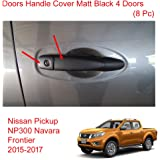 Powerwarauto Doors Handle Cover Matte Black 4 Doors Fits Nissan Np300 Navara D23 Medium Black Medium
