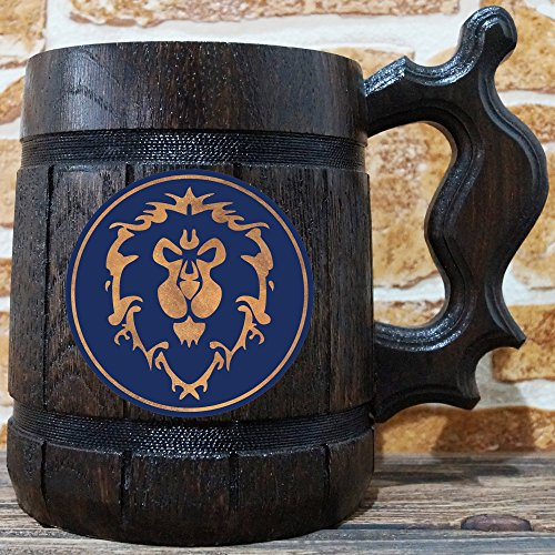 Alliance Beer Mug, Warcraft Gifts, World of Warcraft Wooden Beer Mug, Alliance Groomsmen Gift, WOW Beer Stein, Gamer Gift, WOW Tankard, Gift for Men, Gift for Him by WildMugs