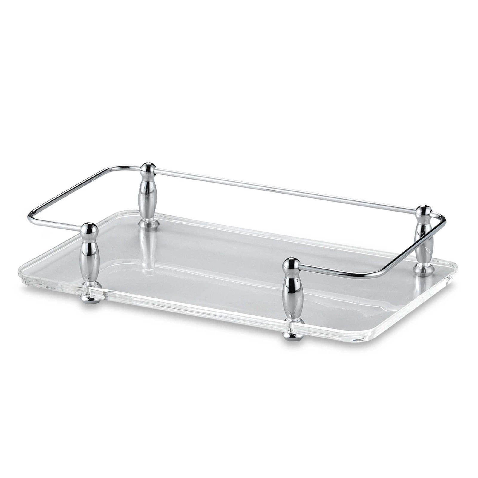 Asher Amada Acrylic and Chrome Guest Towel Holder Vanity Tray 2'' x 9.5'' x 5'' Bathroom Decor by Asher Amada