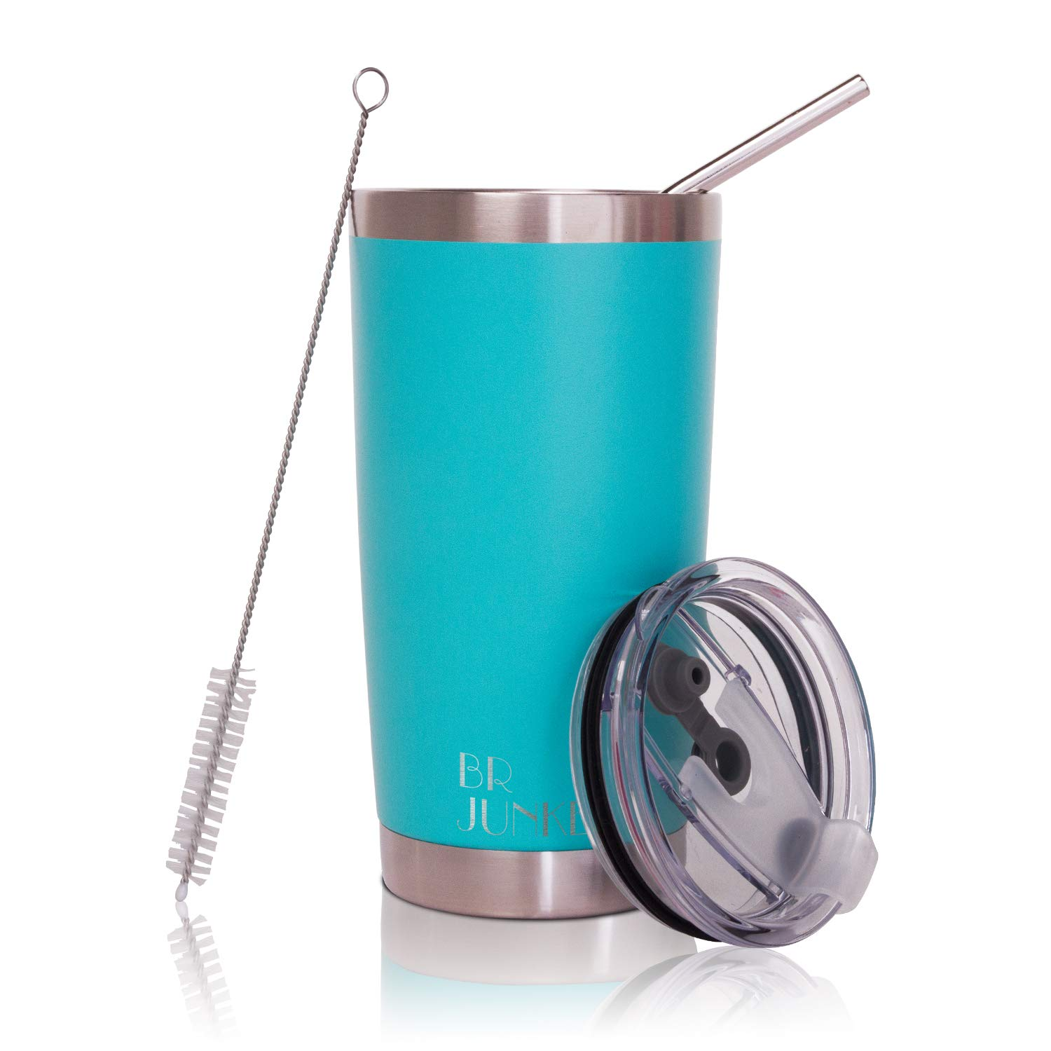 20 oz. Tumbler Double Wall Stainless Steel Vacuum Insulation Travel Mug with Crystal Clear Lid and Straw, Water Coffee Cup for Home,Office,School, Ice Drink, Hot Beverage,Mint
