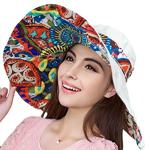 LRKC Women's Reversible Foldable Floppy Sun Hat with Wide Brim UPF 50+, (Floppy Reversible Sun Hat)