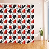 Poker Card Shower Curtain Casino Red Black Dotted Line White Background,70 x 70 Inches Waterproof Mildew Resistant Polyester Fabric Bathroom Curtains Hanging Curtain,
