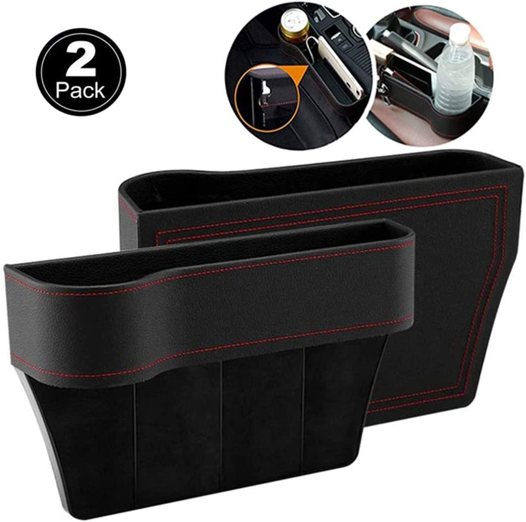 Fincy Palmoo Premium PU Leather Car Organizer Front Seat Filler Seat Gap Filler with Cup Holder PU Leather Organizer Auto Gap Pocket Stowing Tidying for Phone Key Card Coin Case Accessoies