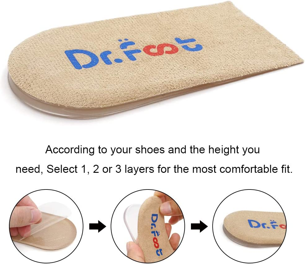 Foots Adjustable Orthopedic Heel Lift Inserts Height Increase Insole for Leg Length Discrepancies Heel Pain and Achilles tendonitis Beige, 2 Layers Dr Heel Spurs Sports Injuries