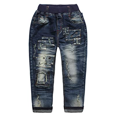eTree Boys' Jeans Vintage Patchs Rivet Denim Trousers Pants