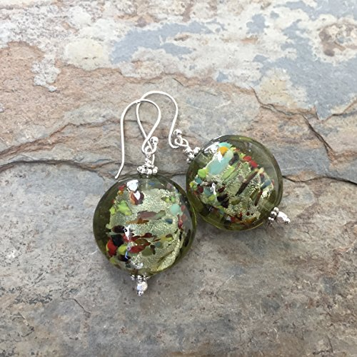 Green Italian Glass Disk Earrings with Sterling Silver (Silver Disc Lined)