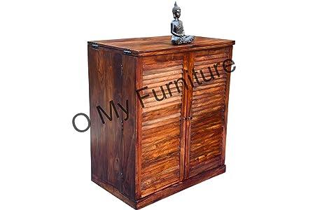 O My Furniture Shutter Bar Cabinet With Teak Finish