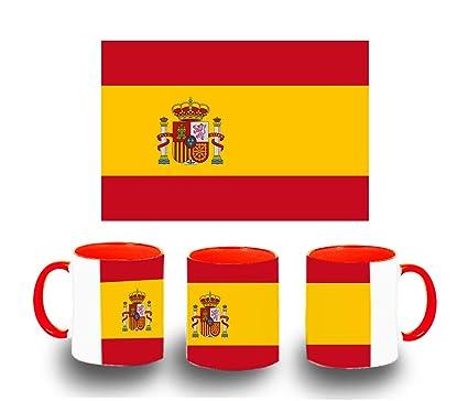 MERCHANDMANIA Taza ROJA Bandera ESPAÑA Pais Unido Color mug ...