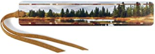 product image for Lake Reflection Color Photograph by Mike DeCesare - Wooden Bookmark with Suede Tassel