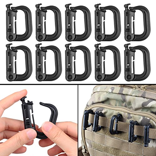 ipurpose D-Ring Locking Hanging Hook Tactical Link Snap Keychain for Molle Webbing (Black-Button Release (10-Pack)) (Carabiner Clip Attachment)