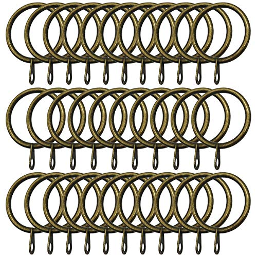 Topspeeder 32 Pack Curtain Rings with Eyelet 1.26-Inch Inner Diameter Metal Flat Drapery Curtain Rings with Eyelets (Bronze)