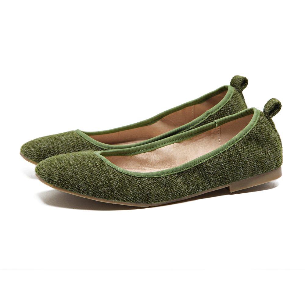 Xue Qiqi Court Schuhe Runde Runde Runde Flache Schuhe Flacher Mund Flache Schuhe Frauen Mesh-Set Fuß niedrige Schuhe Damenschuhe 36 grün d76eaa