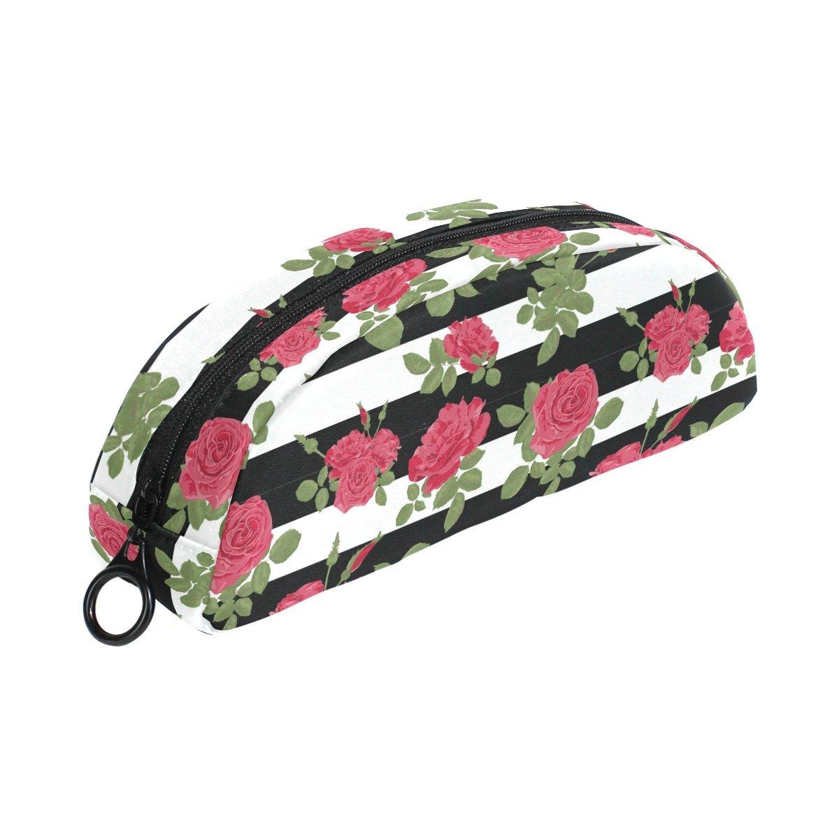 COOSUN - Estuche para lápices, diseño de rosas rojas con rayas ...