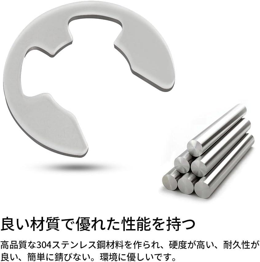 Naroote E-Clip Retaining Snap Ring Circlip Kit 304 Stainless Steel Retaining Snap Ring Circlip Kit 1.5mm-10mm 120Pcs