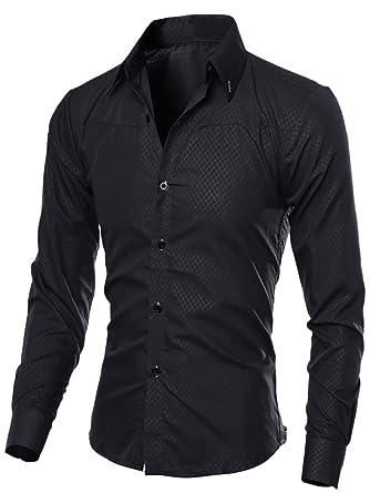 5470417a4f Mens Shirts Blue Checked Long Sleeve Button Down Plaid Shirts Slim Fit Tops  Black XS