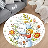Nalahome Modern Flannel Microfiber Non-Slip Machine Washable Round Area Rug-Nursery Boys Girls Decor Teddy Bear in Garden Flower with a Bunny Rabbit Image Multicolor area rugs Home Decor-Round 55''