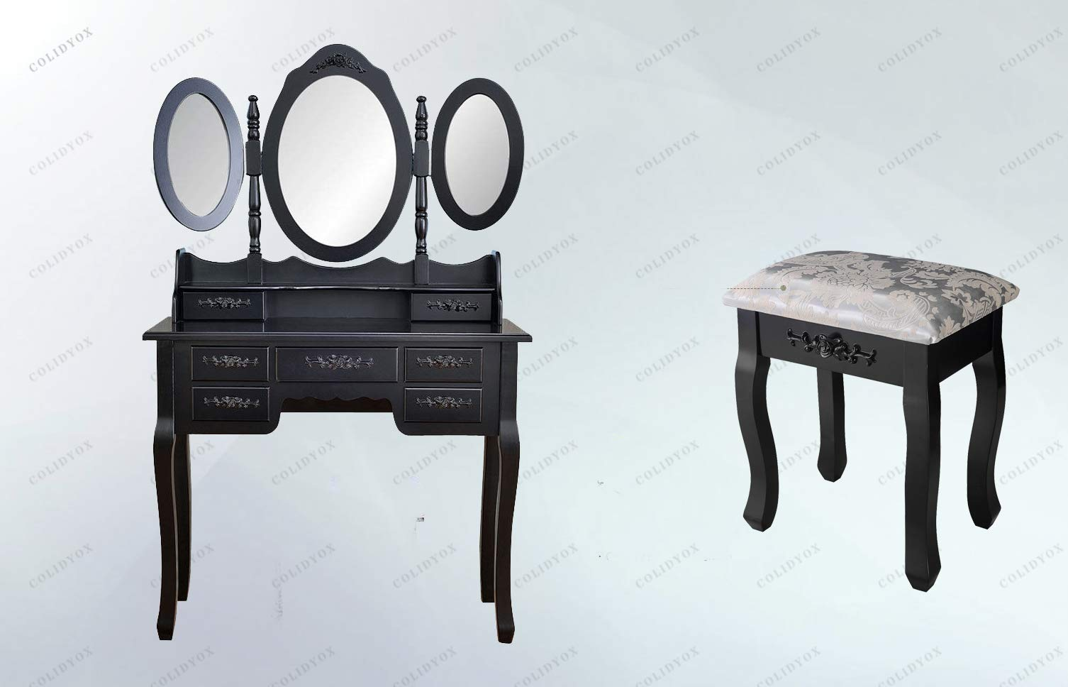 COLIDOX_ and Fashionable Dressing Table,Dressing Table Consists of Three Oval Mirrors, Two Storage Cases, Five Drawers, Simplistic Queen Anne Legs