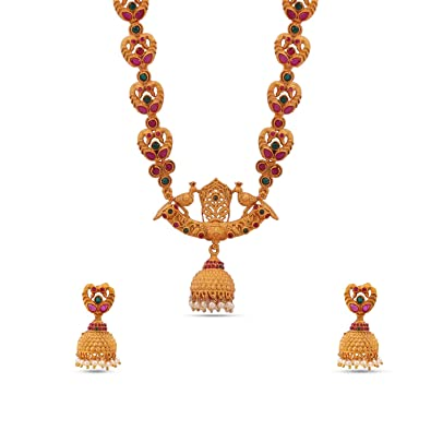 7811cfbafc0 Buy Maalyaa Ruby Stone Traditional Kundan Long Necklace Set for Women    Girls Online at Low Prices in India