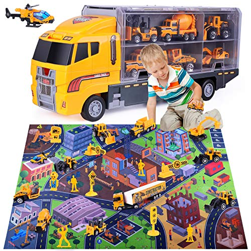 arscniek Construction Vehicles Toy Kit with Play Mat, 24 in 1 Alloy Carrier Mini Engineering Truck for Kids, Toddlers…