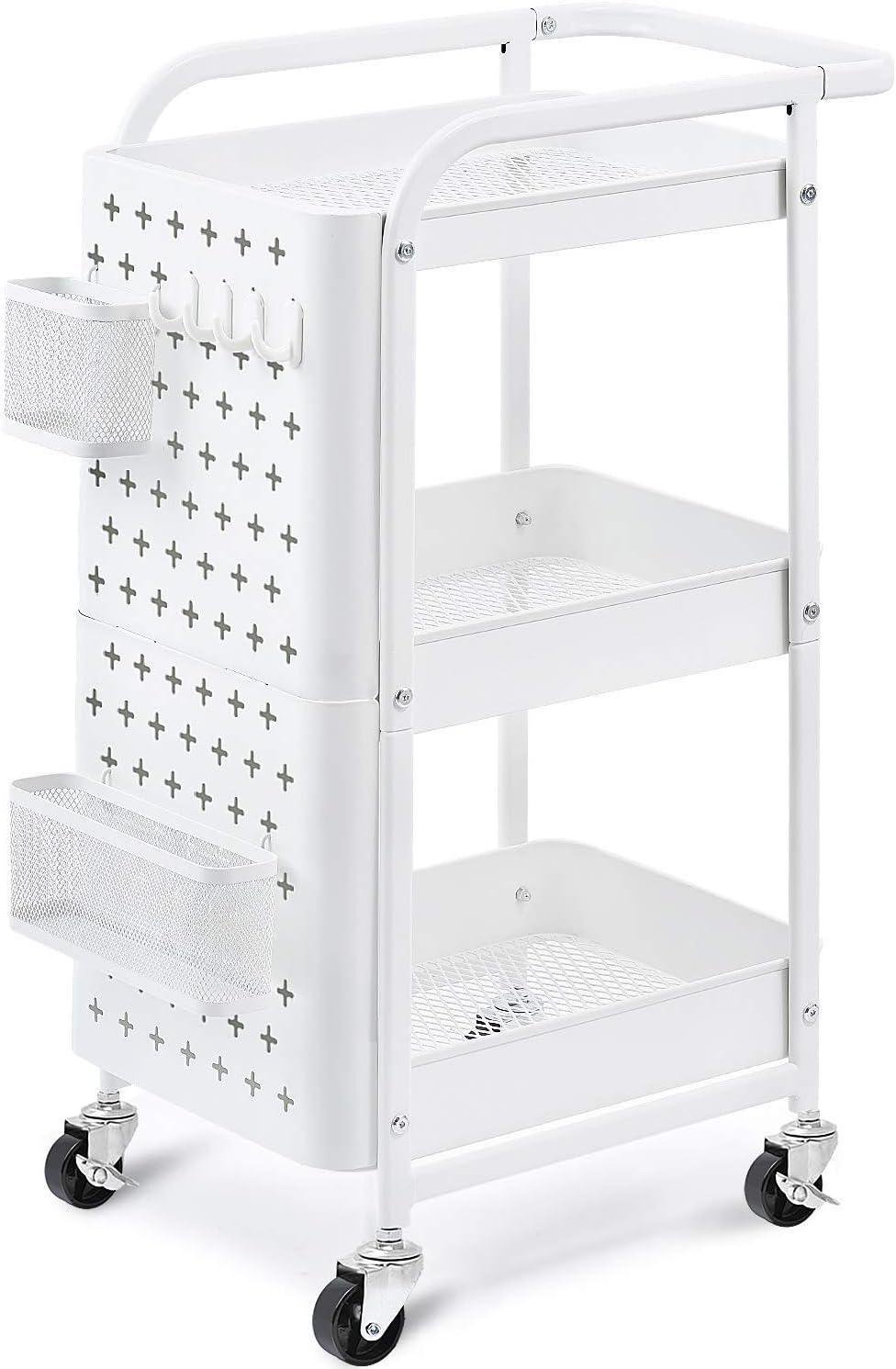 3//4 Tier Organizer Trolley Cart Utility Rolling Storage Rack Holders Space Saver