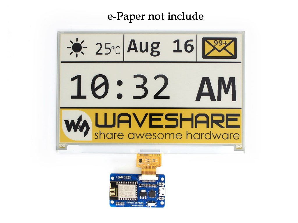 Universal e-Paper Raw Panel Driver Board with WiFi SoC ESP8266 onboard Supports various Waveshare SPI e-Ink Raw Panels Compatible Arduino development