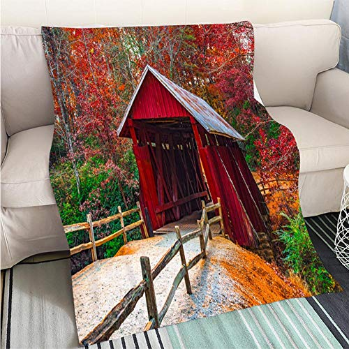 Campbell Flannel - Breathable Flannel Warm Weighted Blanket Campbells Covered Bridge with Autumn Fall Colors Landrum Greenville South Carolina Perfect for Couch Sofa or Bed Cool Quilt