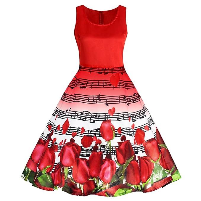 Mujer Vestido Elegante Vintage sin Mangas Estampado Rosa y Notas Musicales A-Línea Vestido Rojo