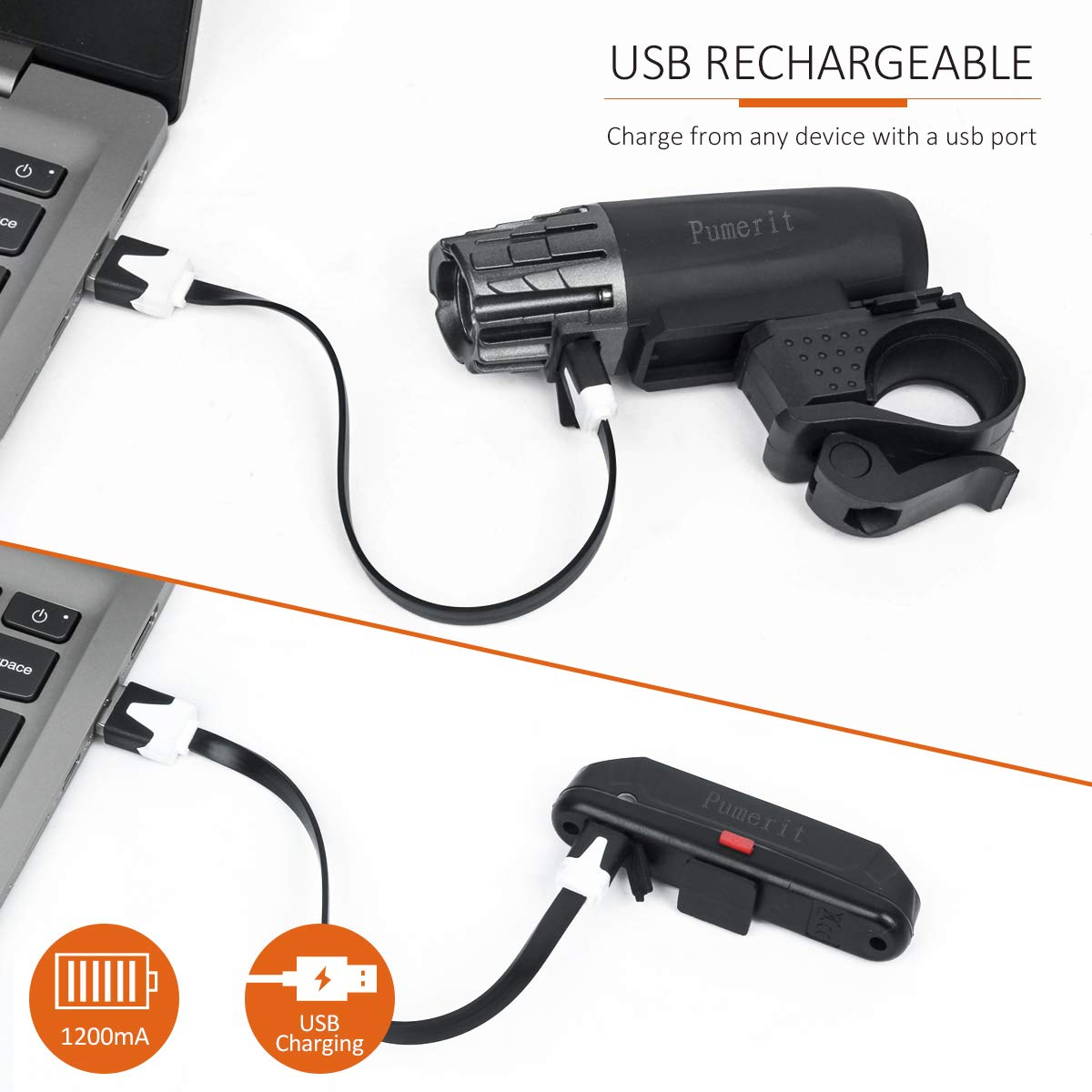 Bonnevie USB Rechargeable Bike Light Set,1500mA Powerful Waterproof Mountain Bicycle Headlight and Taillight Set Super Bright Front Light and Rear Light for Cycling Safety by Bonnevie (Image #3)