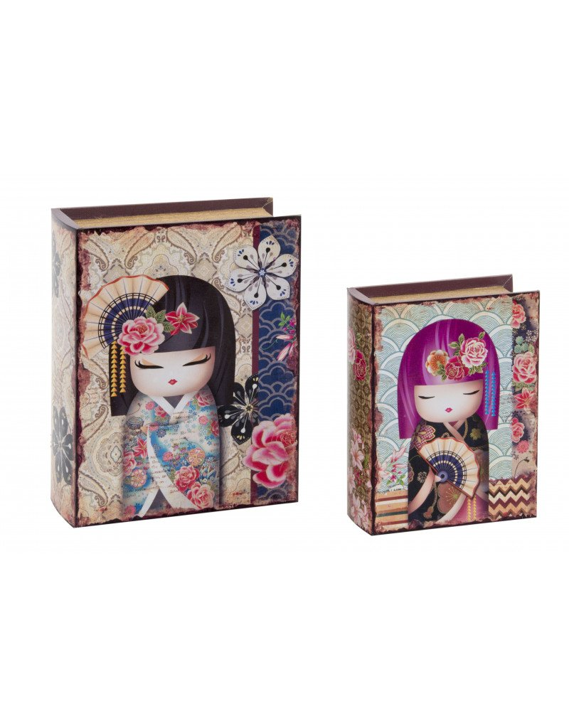 una marca di lusso Hogar y Mas Casa - Set di 2 scatole scatole scatole di libri di Legno. Bambole Giapponesi  Felice shopping