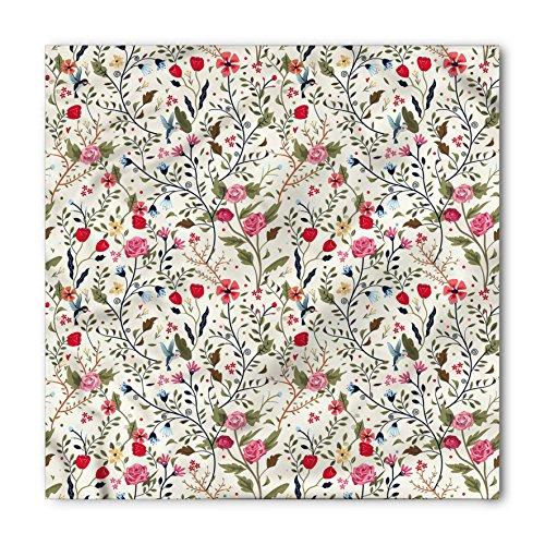 - Ambesonne Unisex Bandana, Floral Birds Roses Polka Dots, Cream Pink