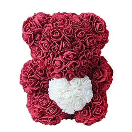 Qlans Rose Bear Flower, Forever Rose Flower Teddy Bear Doll ...