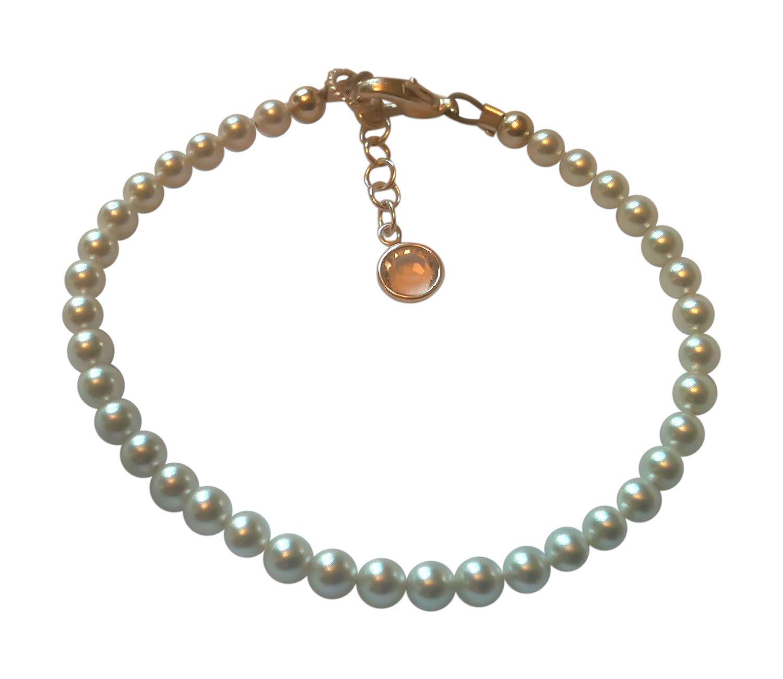 BBEmerald Elegant White Swarovski Baby Pearl Bracelet, Extra Large