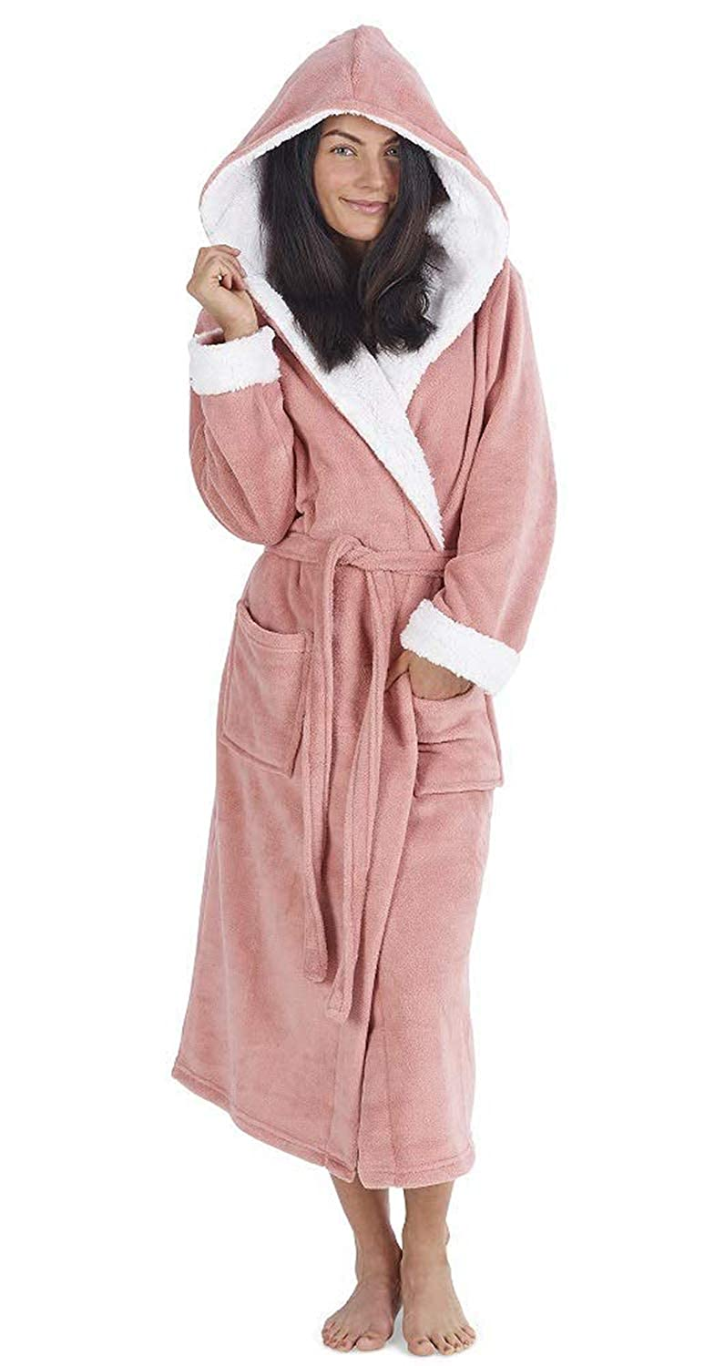 Ladies Luxury Hooded Dressing Gown with Sherpa Hood and Cuffs Super Soft  Robe with Fur Lined d5e7d0cc1