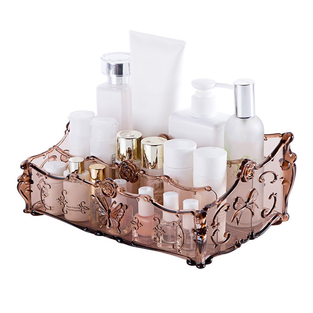 Gemini_mall® Acrylic Clear Makeup Organiser Cosmetic Storage Makeup Case 3 Slots for Bathroom Desk (Grey)