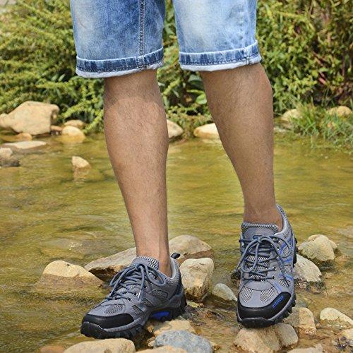 Laufende Turnschuhe der Männer wandern beiläufige bequeme lederne leichte breathable wandernde graue Ineinander greifenschuhe Grau