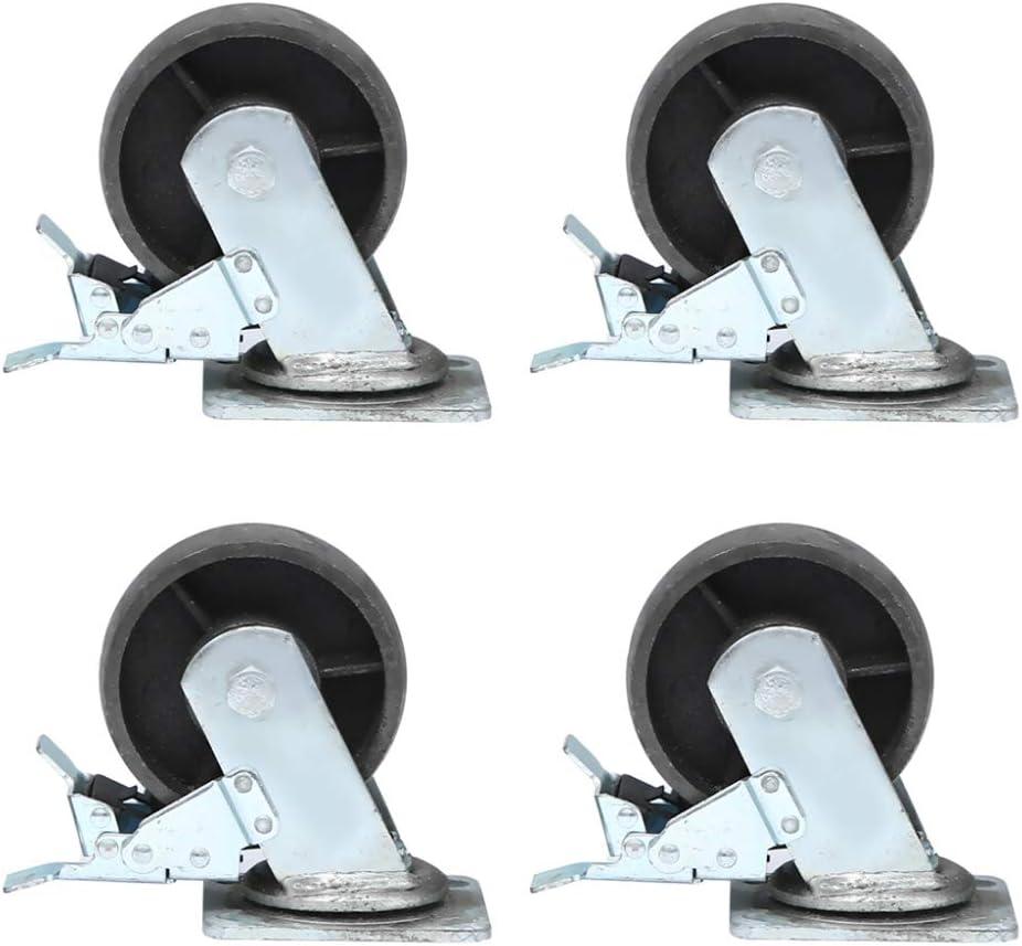 AT Ruedas de hierro fundido de alta resistencia, 4 piezas, industria doméstica Ruedas de empuje de núcleo sólido, resistencia a altas temperaturas, fuerte carga, silencioso/brake wheel
