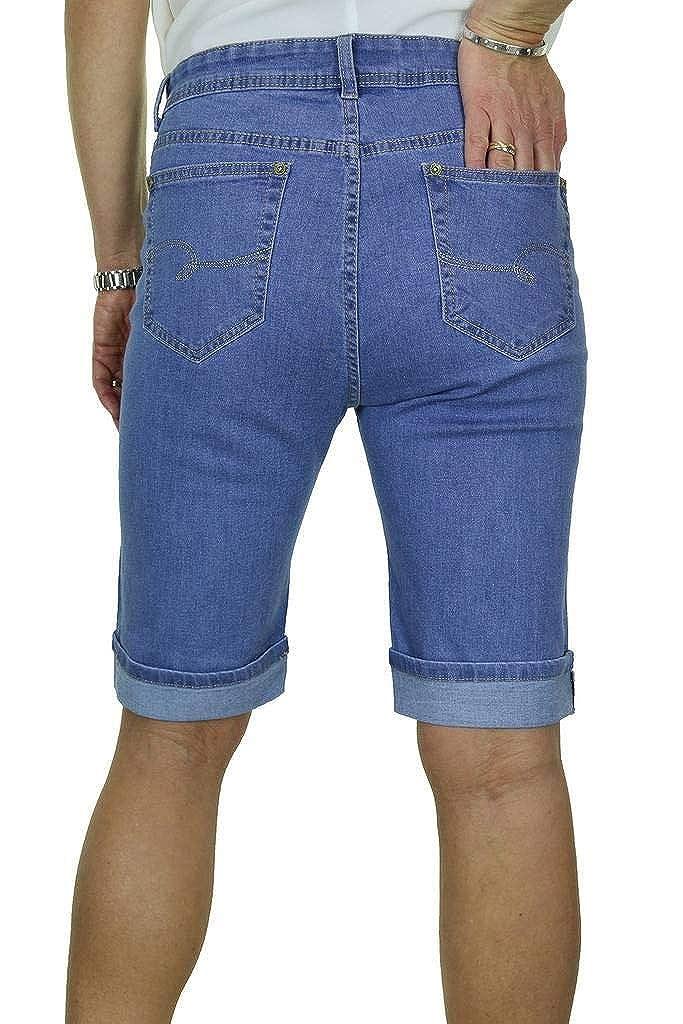 Ladies Stretch Denim Turn Cuff Jeans Style Shorts Mid Blue 14-24